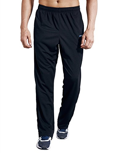 LUWELL PRO Men's Sweatpants with Pockets Open Bottom Athletic Pants for Jogging, Workout, Gym, Running, Training(0317Black,L)