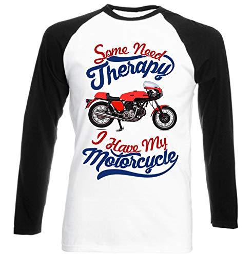 Teesandengines Ducati 750 Sport Motorcycle Therapy Camiseta de Mangas Negra largas T-Shirt Size Xxxlarge