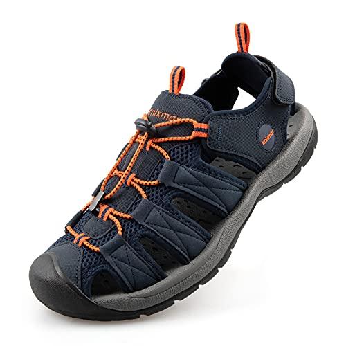 Knixmax Sandali da trekking, da donna, uomo, bambini, da trekking, per attività all'aria aperta, scarpe estive, leggere, per sport, spiaggia, sport acquatici, taglie 28-46, Blu (Blu mare), 44 EU