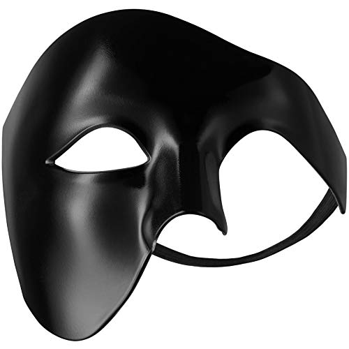 dressforfun 900885 Venezianische Maske für Herren, einfarbige Augenmaske Phantom, Hälfte Gesicht Maskerade für Ball Party Oper Fasching Kostüm Halloween - Diverse Farben - (schwarz   Nr. 303539)