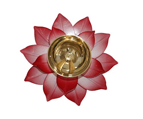 NK GLOBAL Blume Diya 1 Pc Messing Kamal Diya Akhand Jyoti Öllampe Indische Pooja Artikel Diwali Light Hindu Home Decor Deepawali Geschenke