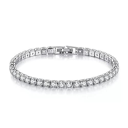 Pulsera para mujer de plata con circonitas, pulsera rodiada con cristales brillantes de Swarovski blancos., 17 cm,