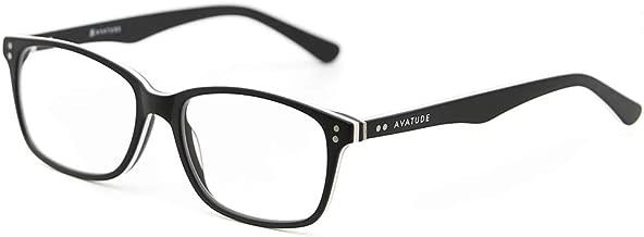AVATUDE Blue Light Computer Glasses - Brooklyn Design. Hard Case Included! (0.00 magnification) (Matte Black)
