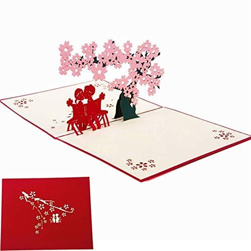 XCVB greeting card 3D Cherry Tree Party Wedding Invitation Greeting Cards Laser Cut Valentine Wedding Birthday Thank You Card,cherry tree lover 2