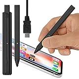 (超小型) USB充電 アクティブスタイラスペン (ブラック) Renaissance nano in ルネサンス ナノイン (iPhone/iPad/iPad mini 専用) 超極細ペン先 充電池いらずのバッテリー内蔵型 スリム コンパクト ミニサイズ