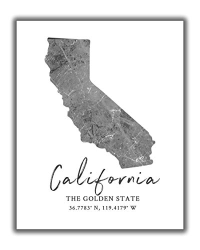 California State Map Wall Art Print - 8x10 Silhouette Decor Print with Coordinates. Makes a Great CA-Themed Gift. Shades of Grey, Black & White.
