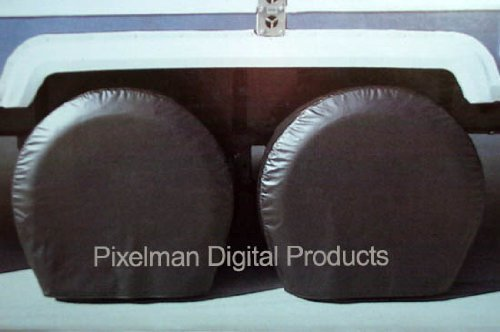 """Pair Storage Vinyl Tire Covers 40"""" - 42"""" Diameter Tires Black for RV, Bus, Coach, Truck Fits Most Tires on a 22.5"""" Rim"""