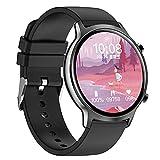 QFSLR Smartwatch, Reloj Inteligente con Ciclo Menstrual Femenino Monitor De Frecuencia Cardíaca Monitor De Presión Arterial Actividad Inteligente, Regalo De Cumpleaños Android E iOS,Negro