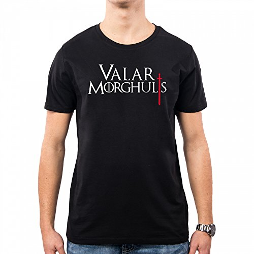 PACDESIGN Camiseta Hombre Valar Morghulis Games of Thrones Serie TV Il Trono Di Spade TV Series Pd1456a, S, Black