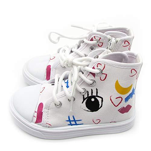 Nicole Miller New York Toddler Girls Hi-Top Designer Sneaker Light Weight, Casual Walking and Running Shoes- White Size 9 4 Years