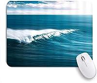 NIESIKKLAマウスパッド オーシャンティールブルーオーシャンウェーブハワイアントロピカルシーウェーブアートプリント ゲーミング オフィス最適 高級感 おしゃれ 防水 耐久性が良い 滑り止めゴム底 ゲーミングなど適用 用ノートブックコンピュータマウスマット