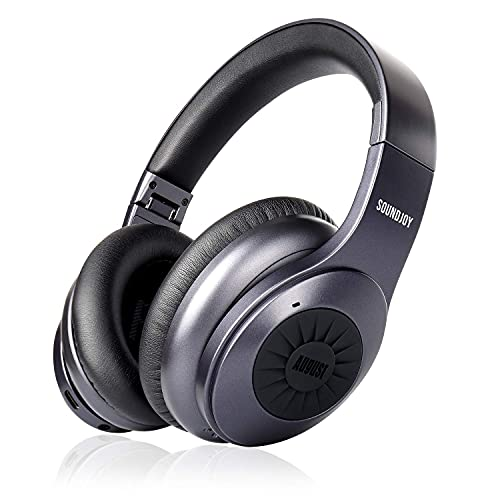 Over-Ear Bluetooth Wireless Noise Cancelling Headphones - August EP765 - Enjoy Bass Rich Sound and Optimum Comfort - Bluetooth v5.0 with aptX - Android/iOS App for Sound Control - [Metallic Grey]