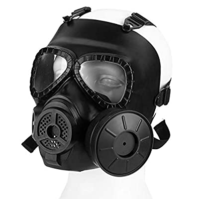 YTPB Protective Mask, Gas Mask Full Face Eye Protection Mask with Dual Filter Fans Adjustable Strap for Cosplay Costume Masquerade by YTPB