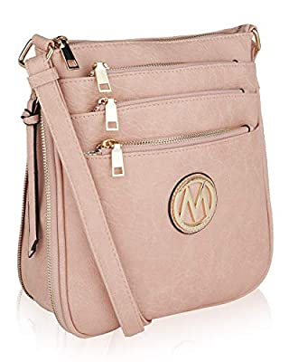 Mia K Collection Crossbody Bags for womens Handbag Adjustable Strap — PU Leather — Crossover Side Messenger Purse Dusty Rose