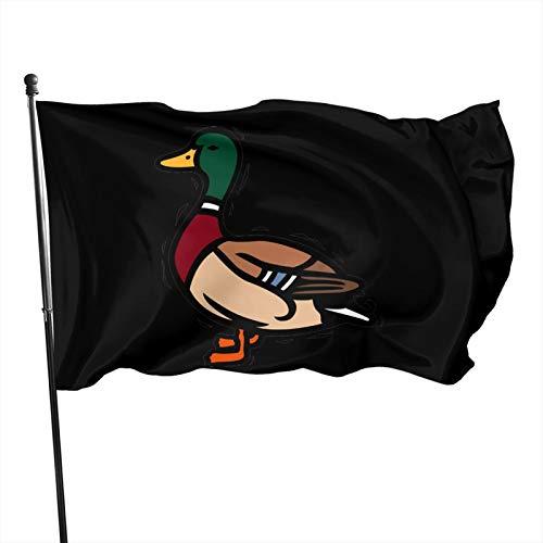 houqizhixiu Mallard Duck Cartoon Out Garden Flag Set for Indoor/Outdoor Flag, Vivid Color and UV Fade Resistant, Brass Grommets 3x5 Ft