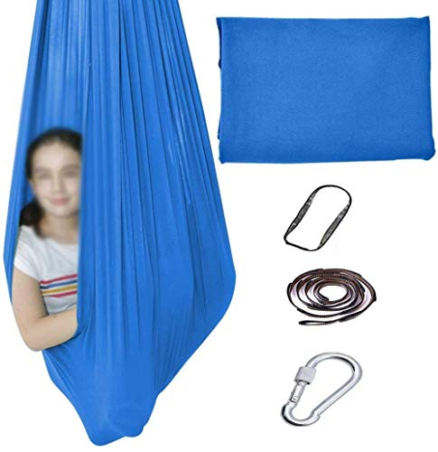 Indoor Therapy Swing For Kids With Special Needs Cuddle Hammock Chair Sensory Integration Childhood Precious Memory Max Capacity 200kg (Color : Sky blue, Size : 100x280cm/39x110in)