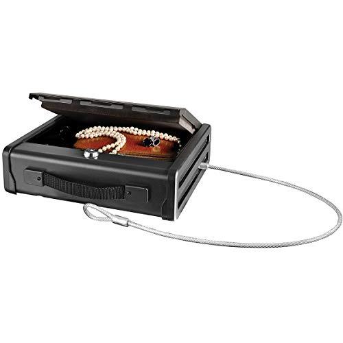 MASTER LOCK Caja Fuerte Compacta [con Llaves] [con Cable] PP1KML - Ideal para objetos de valor, dispositivos electrónicos, pequeños, arma corta