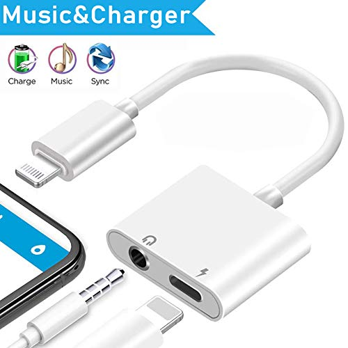 [Apple MFi Certified] iPhone 3.5 mm Headphone Adapter, 2 in 1 Lightning to 3.5mm Headphone Audio & Charger Dongle Splitter Compatible for iPhone 11/11 Pro/XR/XS Max/X/8/7 Support All iOS System-White
