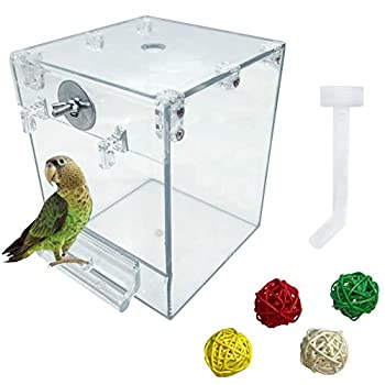 PINVNBY Acrylic Parrot Bath Box,Bird No-Leakage Bathtub for Cage Hanging Tube Shower Box Cage Accessory with Water Injector and Balls Toys for Small Pet Birds,Budgies,Canary and Lovebirds  6 Pcs