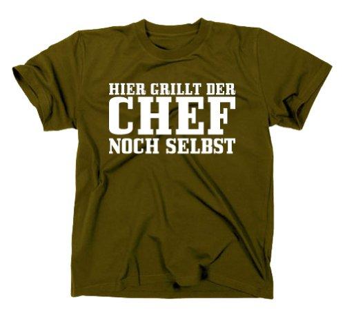 Hier grillt Der Chef noch selbst Fun T-Shirt Grillmeister Grillgott, Grill BBQ, Oliv, M