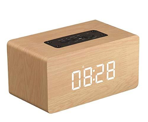 ZJHNZS Bluetooth-Lautsprecher NEU Holz Bluetooth Lautsprecher Wecker Drahtlos Tragbar HiFi Shock...