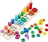 Afufu Juguetes educativos de Madera para 3+ años Niños, Montessori Tablero de Conteo de Números de Apilamiento de Clasificación Matemática Aprendizaje de Juguetes, Regalo de cumpleaños, Navidad