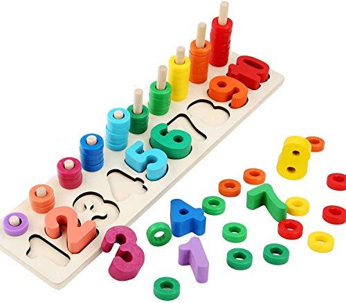 Afufu Montessori Spielzeug, Kleinkind Angeln Spiel Lernspielzeug, Holzspielzeug ab 1 2 3 4 5 Jahre, Kinder Vorschule Mathe Sortieren Stapeln Anzahl Zahlen Lernen Holzblöcke Puzzleeug aus Holz Zahlen