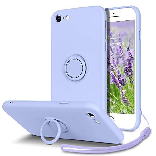 YINLAI Funda para iPhone SE (2020), iPhone 7, iPhone 8, iPhone 7/8/SE (2020), funda protectora con soporte de anilla, fina y líquida, de silicona, amortiguador, para iPhone 7/8/SE (2020), lavanda/lila