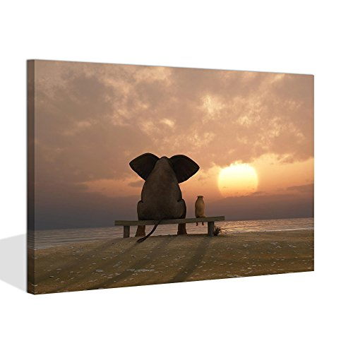 Visual Art Decor Modern Animal Painting Prints on Canvas Old Days Friends Elephant and Dog Sit at Beach Watch The Sunset Framed and Stretched Ready to Hang (Sunset Sea, 16'x20')