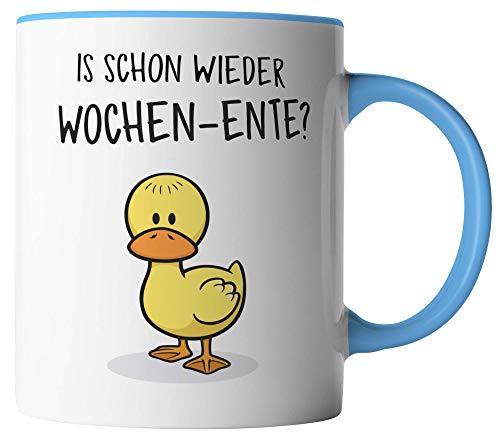 vanVerden Tasse - Ist schon wieder Wochen-Ente - beidseitig Bedruckt - Geschenk Idee Kaffeetassen, Tassenfarbe:Weiß/Blau