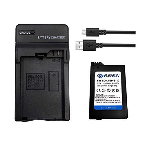 1 batería PSP-S110 de 1200 mAh con cargador de batería para Playstation PSP2000 PSP2001 PSP2003 PSP2004 PSP3000 PSP3001 PSP3003 PSP3004