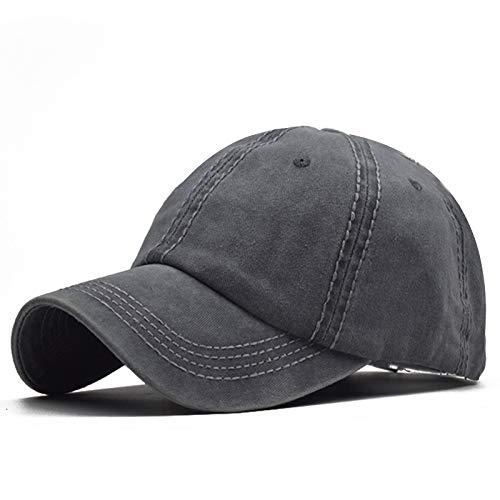Gorra de béisbol de Tablero de Color sólido de algodón Lavado Visera Masculina Gris Lavado Ajustable