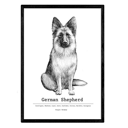 Nacnic Poster de Pastor aleman Texto. Lámina Decorativa de Perros. Tamaño A4
