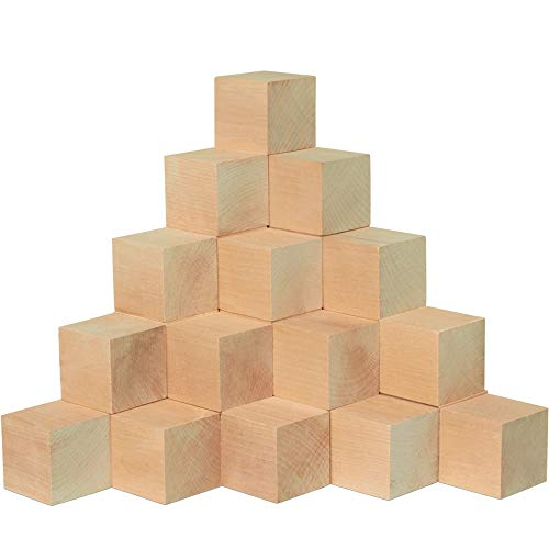 Unfinished Wooden Blocks 2, Pack of 24 Small Wood Cubes for Crafts and DIY D