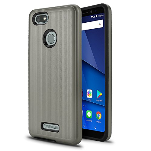 BLU Vivo XL3 case, (V0250WW) 5.5 inch case, [ New Frontier Wireless], Tough Hybrid + Dual Layer Shockproof Drop Protection Metallic Brushed Case Cover for BLU Vivo XL3 case (VGC Gray)