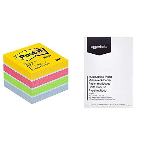 Post-It 2051-U - Papel para notas auto adhesivo (5.1 x 5.1 cm), multicolor & AmazonBasics Papel multiusos para impresora A4 80gsm, 1 paquete, 500 hojas, blanco