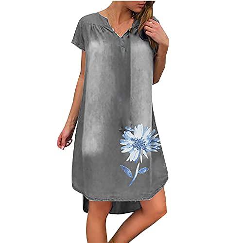 Oversize T-Shirt Damen Casual Top Sommer Gänseblümchen Drucken Jeanskleid Kurzem Ärmel V-Ausschnitt Lang Tunika Tops Sommer Loose Oberteile Basic Hemd Minikleid
