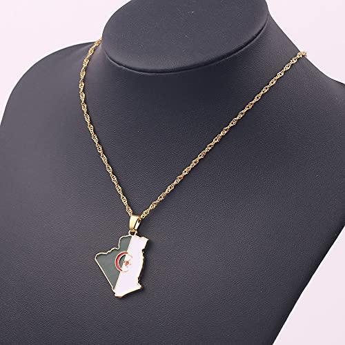MIKUAX collarMapa de Argelia y Collar de Bandera Color Oro Esmalte Mapa Colgante Cadena Collares de Moda mapas de joyería de Argelia Regalos étnicos Bijoux