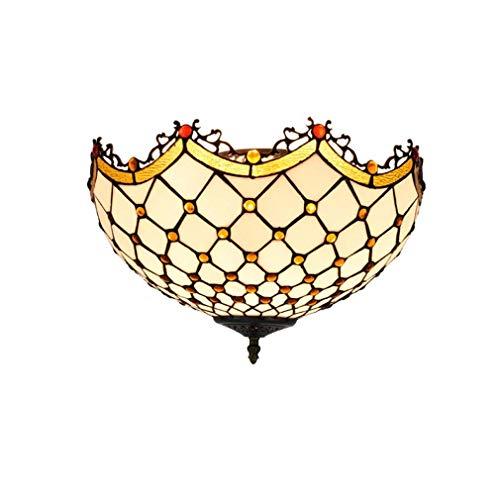 Lampada da soffitto a soffitto in stile Tiffany, ottone antico e arte in vetro colorato Lampada da soffitto a 3 luci con paralume in vetro colorato, per sala da pranzo del corridoio, E26, Max60w X 3