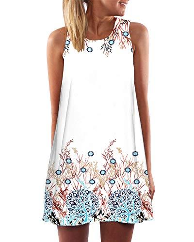 YOINS Letnia sukienka damska, krótka, elegancka sukienka plażowa, bez ramion, wzór kwiatowy, seksowna sukienka bez rękawów mini sukienka
