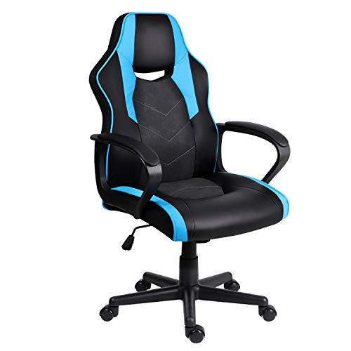 Hadwin Gaming Chair PC Racing Sports Swivel Office Chair Leather Desk Chair with Padded Armrests and Ergonomic Design Computer Chair for Adults and Children,Blue