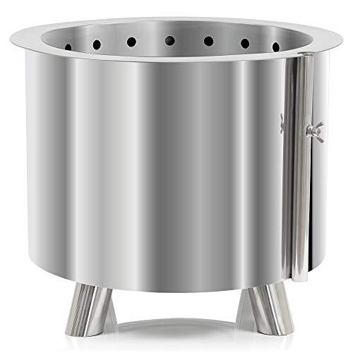 BBQ-Toro Edelstahl Feuertonne Ø 46 cm | mit Edelstahl Grillrost Ø 36 cm und Erdspieß | Moderne Feuerstelle mit Kamineffekt (Nur Feuertonne)
