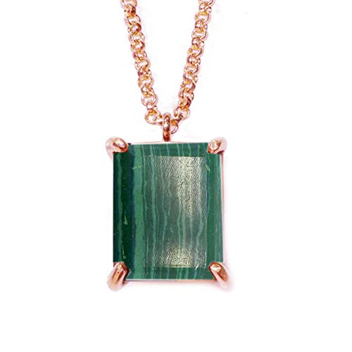 JewelryGift Natural Malachite Pendant with Chain Cabochon Gemstone Green Rose Gold Plated Stylish Pendants for Mother