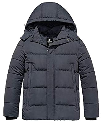 Wantdo Men's Puffer Warm Winter Jacket with Detachable Hood Dark Gray Medium from