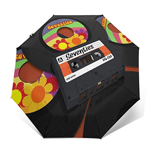 SUHETI Paraguas automático de Apertura/Cierre,Un Casete Compacto y Algunos Discos de Vinilo,Paraguas pequeño Plegable a Prueba de Viento