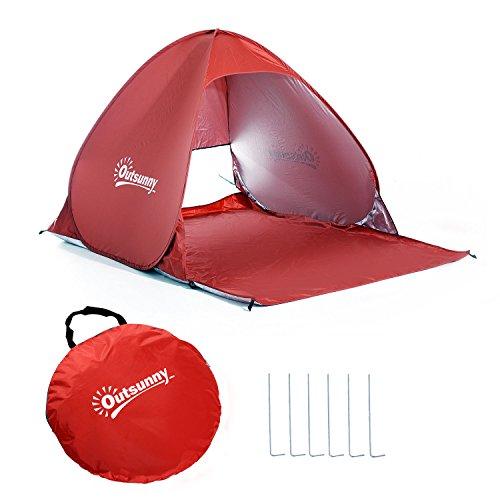 Outsunny Tienda de Campaña Pop-Up Instantánea y Portátil con Ventanas Tipo Refugio para Playa Picnic y Camping con Protección Solar UV (Rojo)