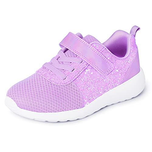 Harvest Land Athletic Running for Unisex Kids with Hook Loop Walking Sneakers Anti Slip Sport Casual Shoes Training Light Boys Girls Summer Spring, Purple US 1 Big Kids