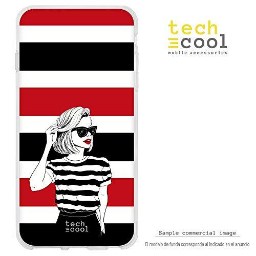 Funnytech® siliconen hoes voor Xiaomi Mi5S Plus [flexibele siliconengel, exclusief design] dames mode T-shirt wit en zwart