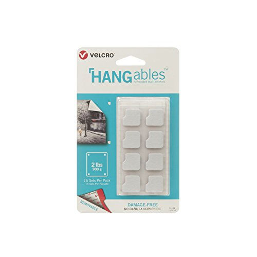 VELCRO Brand HANGables | Removable Wall Fasteners | Decorate Without Damaging Your Walls | Hang frames, Create Wall Collages | 16 Sets per Pack | Squares