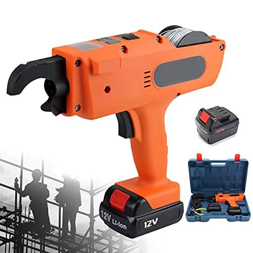 ETE ETMATE Rebar-Tier-Bindemaschine, Elektrisches, Wiederaufladbares Rebar-Tier-Werkzeugset, 4500mAh Handheld-Elektrobindegeräte für 8-34mm Bindebereich (Orange)
